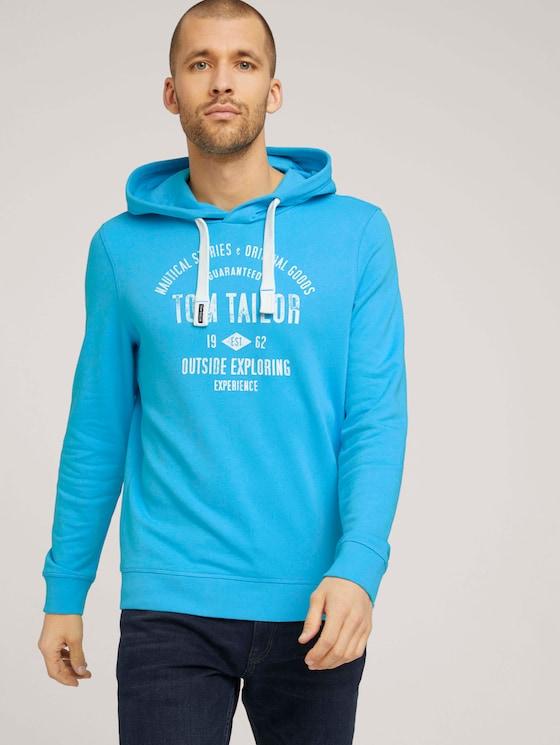 Hoodie mit Logoprint - Männer - aquarius turquoise - 5 - TOM TAILOR