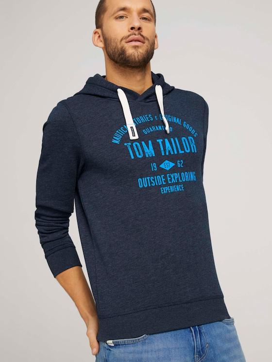 Hoodie mit Logoprint - Männer - sky captain blue white melange - 5 - TOM TAILOR