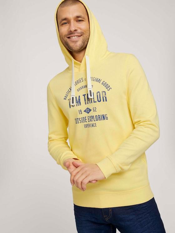 Hoodie mit Logoprint - Männer - pale straw yellow - 5 - TOM TAILOR
