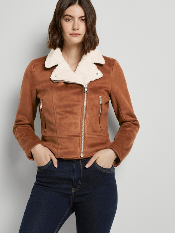 Wildleder-Bikerjacke mit Teddykragen - Frauen - burnt hazelnut brown - 5 - TOM TAILOR Denim