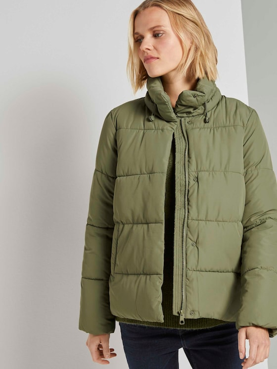Puffer jacket with a stand-up collar - Women - dull olive green - 5 - TOM TAILOR Denim