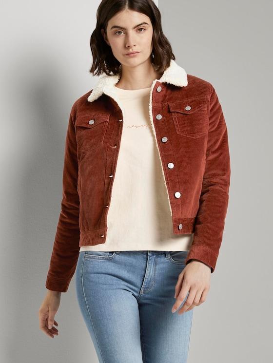Lined corduroy jacket with fur collar - Women - Rust Orange - 5 - TOM TAILOR Denim