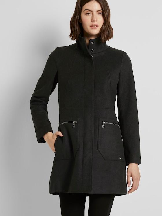 Wollmantel mit Reißverschlusstaschen - Frauen - Deep Black - 5 - TOM TAILOR Denim