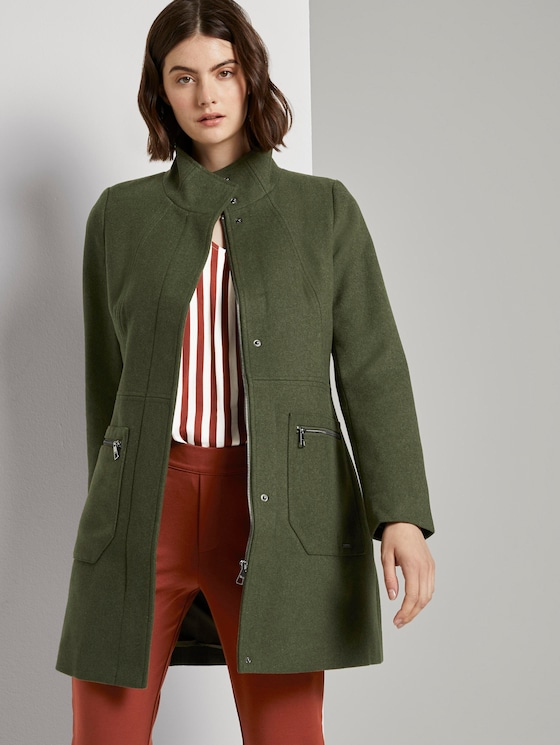 Wollmantel mit Reißverschlusstaschen - Frauen - olive green melange - 5 - TOM TAILOR Denim