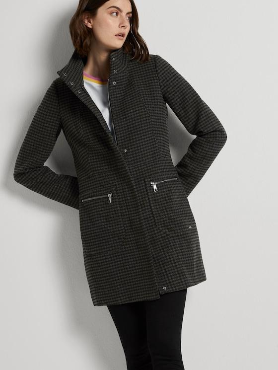 Karierter Mantel mit Stehkragen - Frauen - grey black houndstooth - 5 - TOM TAILOR Denim