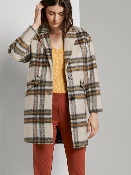 Oversized Mantel mit Karomuster - Frauen - creme beige check - 5 - TOM TAILOR Denim