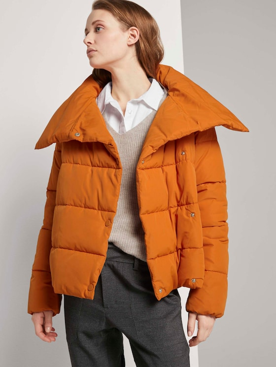 Asymmetrische Pufferjacke - Frauen - dusty pumpkin orange - 5 - TOM TAILOR Denim
