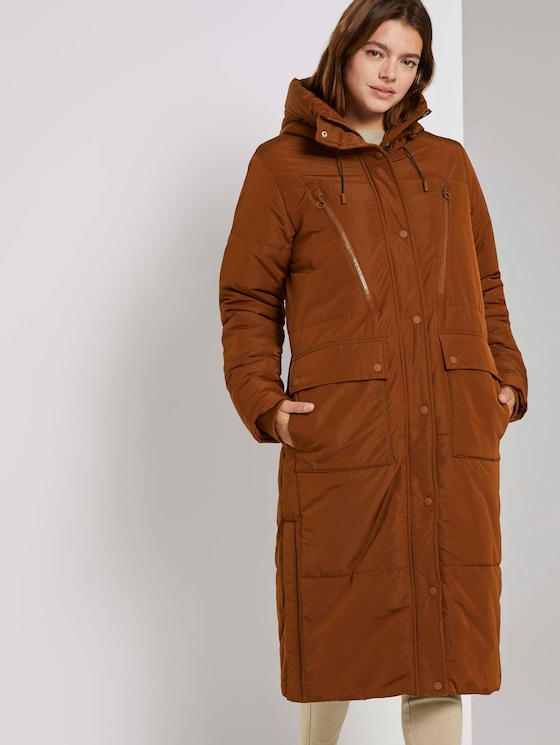Lange gewatteerde jas met hoodie - Vrouwen - burnt hazelnut brown - 5 - TOM TAILOR Denim