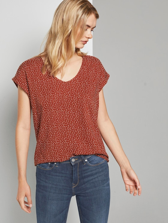 Gemusterte Kurzarm-Tunikabluse - Frauen - rust white dot - 5 - TOM TAILOR Denim