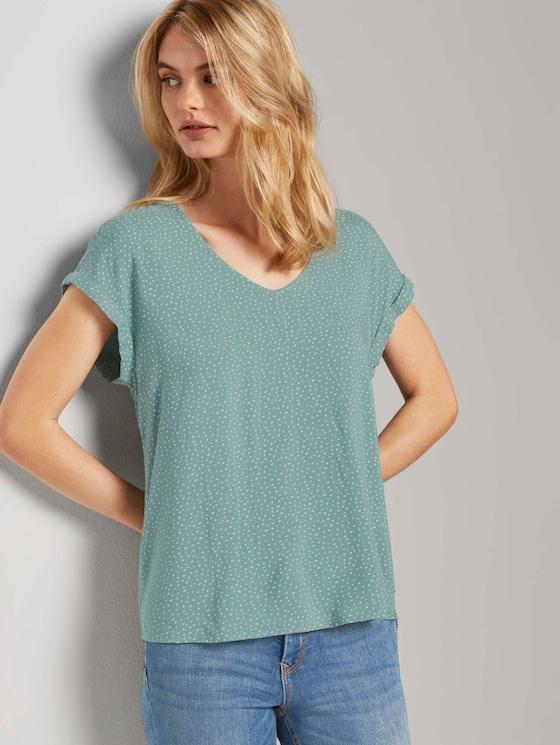 Patterned short-sleeved tunic blouse - Women - mint white dot - 5 - TOM TAILOR Denim