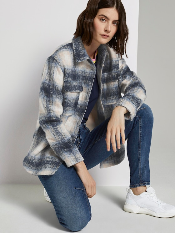 Karierte Hemdjacke - Frauen - stone blue beige check - 5 - TOM TAILOR Denim