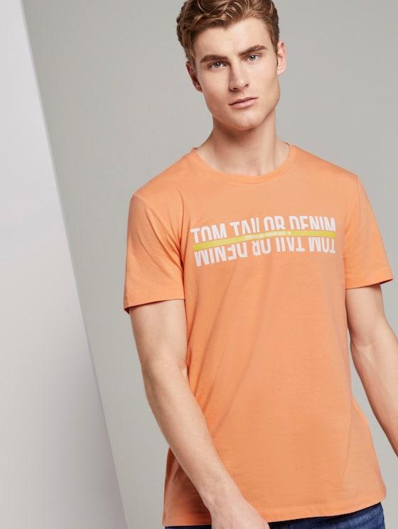 T-Shirt mit Logo-Schriftprint - Männer - summer peach orange - 5 - TOM TAILOR Denim