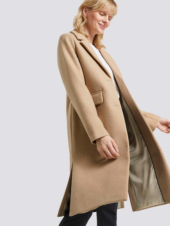 Classic wool coat with side slits - Women - warm sand melange - 5 - Mine to five