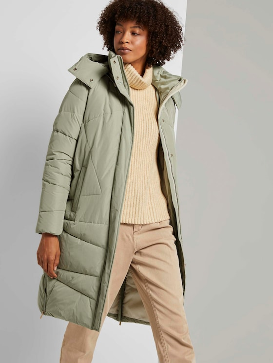 Puffer jacket with a seam pattern - Women - herbal tea green - 5 - Mine to five