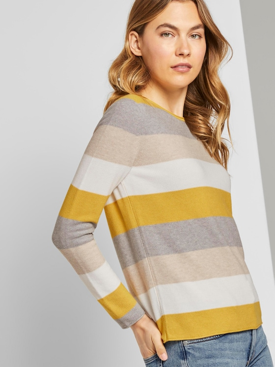Strukturierter Pullover - Frauen - camel ottoman stripe - 5 - TOM TAILOR
