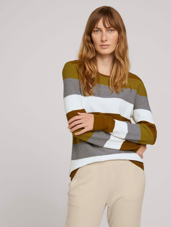 Strukturierter Pullover - Frauen - green block stripe - 5 - TOM TAILOR