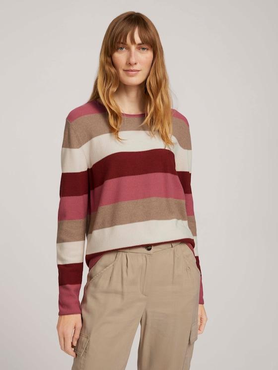 Strukturierter Pullover - Frauen - pink block stripe - 5 - TOM TAILOR