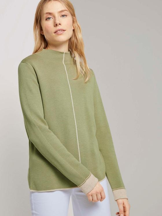 Doppelseitiger Strickpullover - Frauen - greyish green - 5 - TOM TAILOR