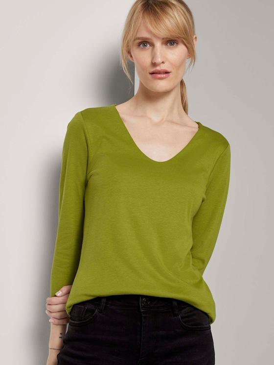 Basic Shirt mit 3/4-Arm - Frauen - wood green - 5 - TOM TAILOR