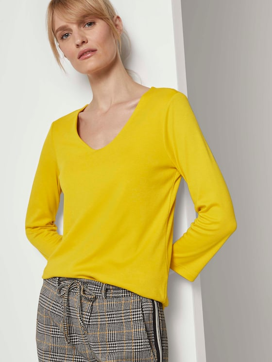 Basic Shirt mit 3/4-Arm - Frauen - california sand yellow - 5 - TOM TAILOR