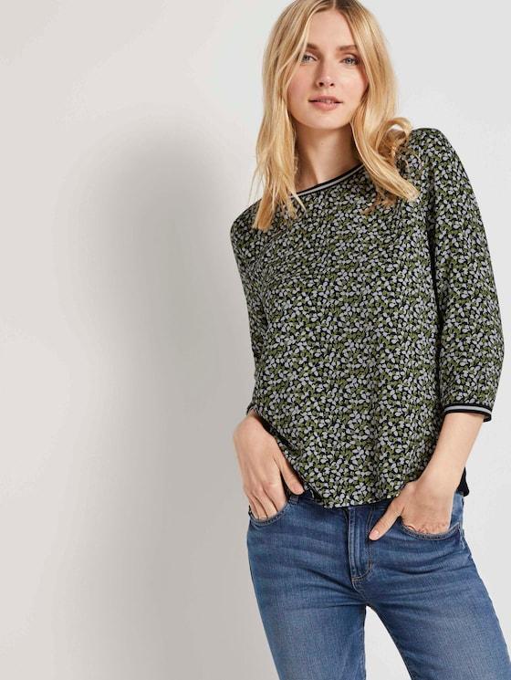 Shirt mit Ripp-Details im Materialmix - Frauen - navy green floral design - 5 - TOM TAILOR