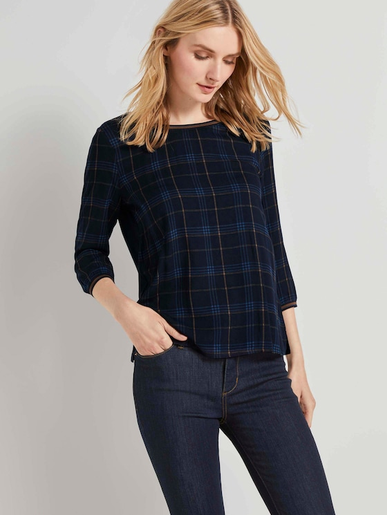 Shirt mit Ripp-Details im Materialmix - Frauen - navy bold printed check - 5 - TOM TAILOR