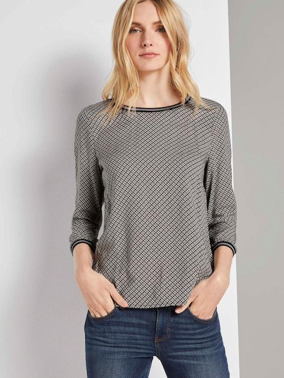 Shirt mit Ripp-Details im Materialmix - Frauen - grey small bias check - 5 - TOM TAILOR