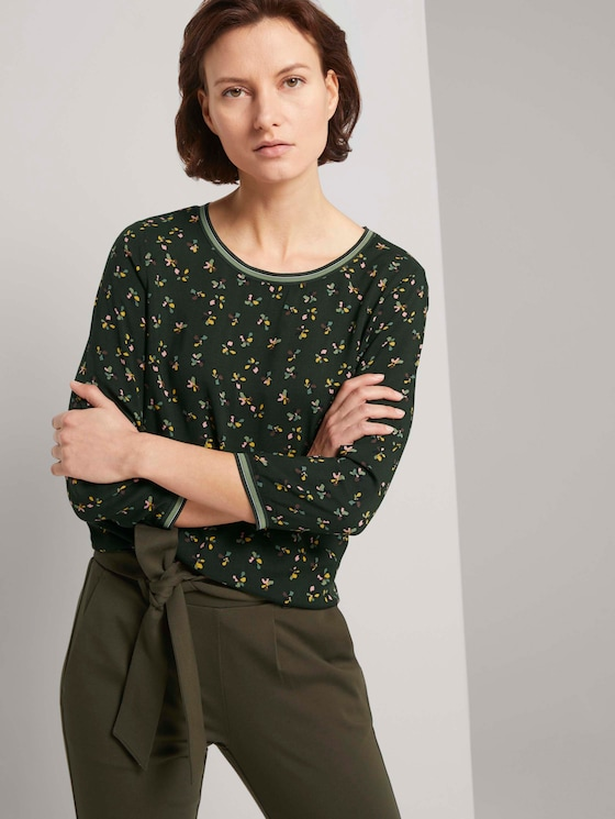 shirt with rib details in a material mix - Women - dark rosin floral design - 5 - TOM TAILOR