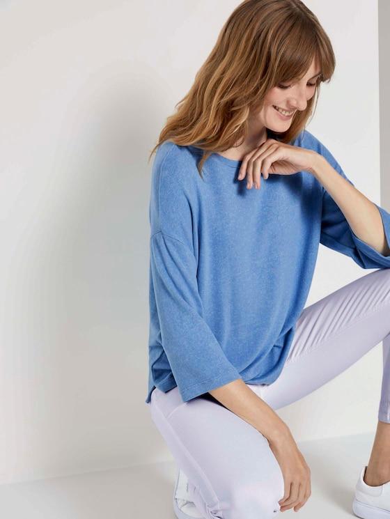 Meliertes Shirt mit 3/4-Arm - Frauen - sea blue melange - 5 - TOM TAILOR