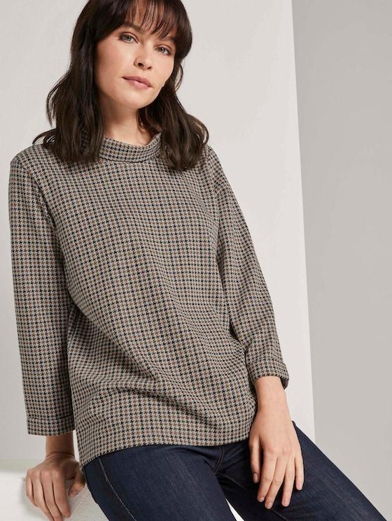 Kariertes Sweatshirt mit Rollkragen - Frauen - camel small check - 5 - TOM TAILOR