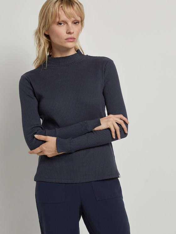 Ribbed long-sleeved top with a stand-up collar - Women - Sky Captain Blue - 5 - Mine to five