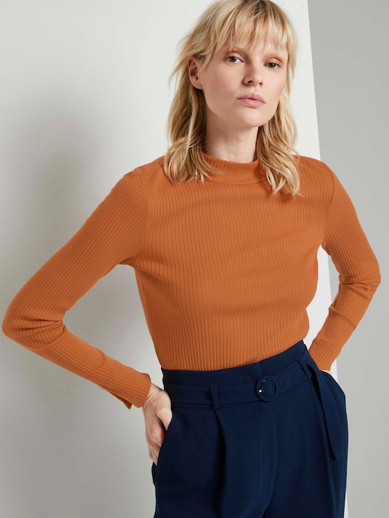 Geripptes Langarmshirt mit Stehkragen - Frauen - Baked Ginger Orange - 5 - Mine to five