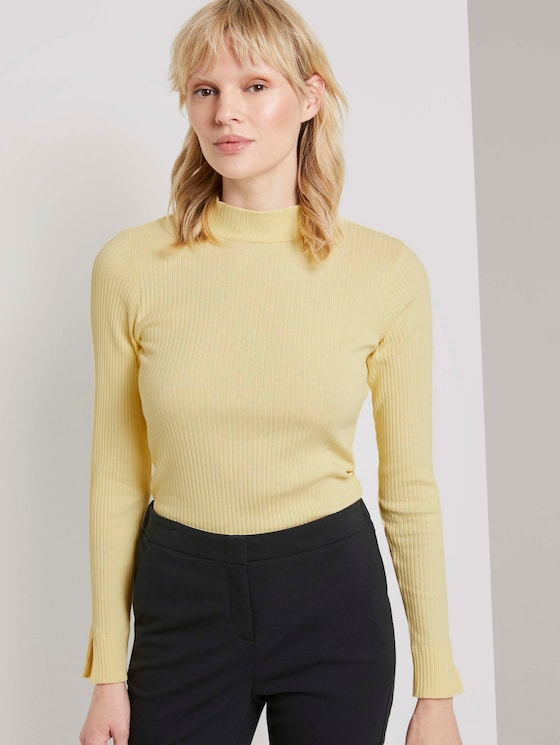 Ribbed long-sleeved top with a stand-up collar - Women - pale banana yellow - 5 - Mine to five