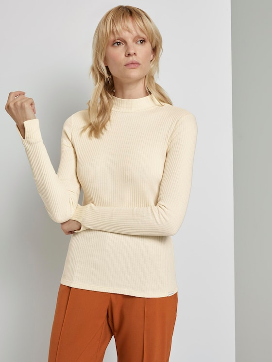 Ribbed long-sleeved top with a stand-up collar - Women - light soft sand - 5 - Mine to five