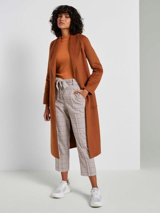 Relaxed Straight Hose mit Bindegürtel - Frauen - beige small check design - 3 - Mine to five