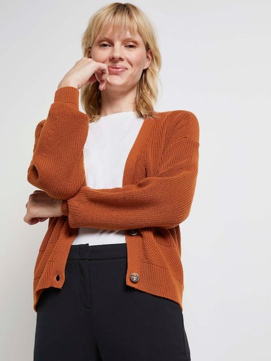 Lockerer Cardigan mit V-Ausschnitt - Frauen - Baked Ginger Orange - 5 - Mine to five