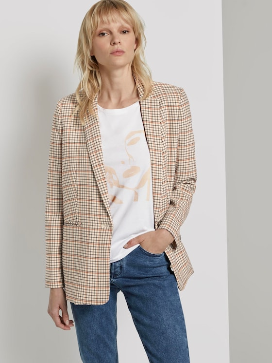 Karierter Girlfriend-Blazer - Frauen - beige small check design - 5 - Mine to five