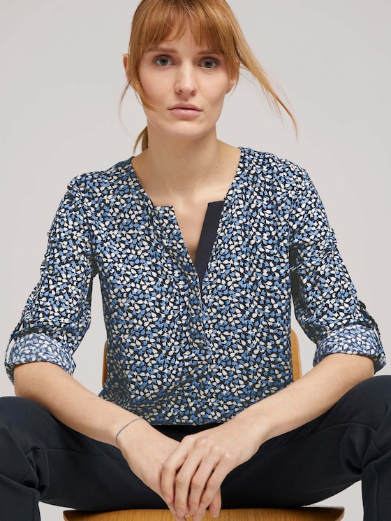 Gemusterte Henley-Bluse mit Turn-Ups - Frauen - navy blue floral design - 5 - TOM TAILOR