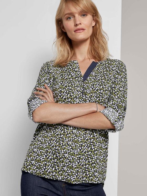 Gemusterte Henley-Bluse mit Turn-Ups - Frauen - navy green floral design - 5 - TOM TAILOR