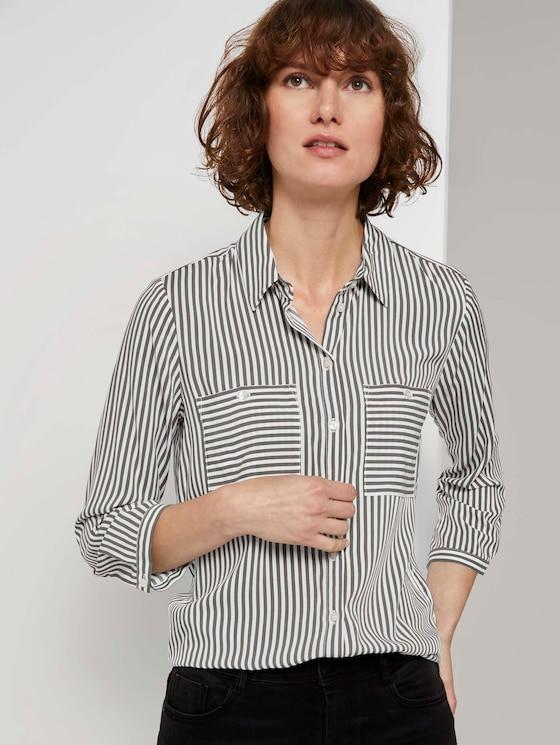 Striped shirt blouse - Women - grey vertical stripe - 5 - TOM TAILOR