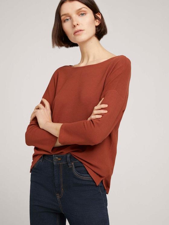 Strukturiertes Boxy-Shirt - Frauen - Rust Orange - 5 - TOM TAILOR Denim