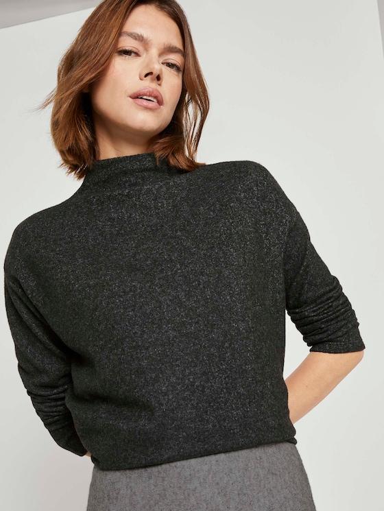 Meliertes Sweatshirt mit Stehkragen - Frauen - Shale Grey Melange - 5 - TOM TAILOR Denim