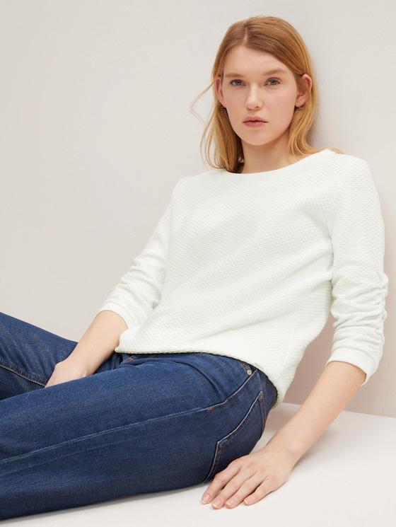 Strukturiertes Sweatshirt - Frauen - Off White - 5 - TOM TAILOR Denim