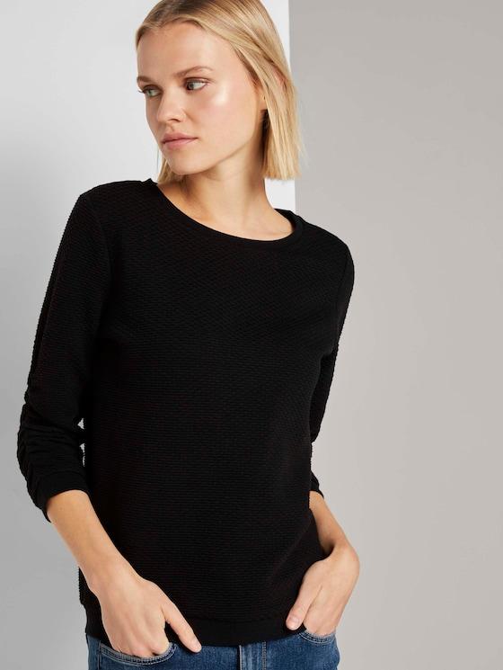 Strukturiertes Sweatshirt - Frauen - deep black - 5 - TOM TAILOR Denim