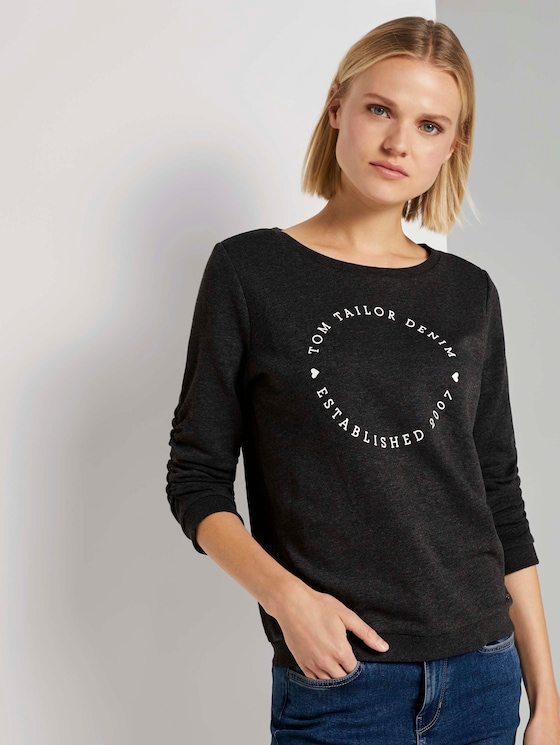 Print-Sweatshirt mit 3/4-Arm - Frauen - Shale Grey Melange - 5 - TOM TAILOR Denim