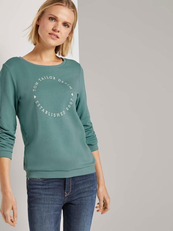 Print-Sweatshirt mit 3/4-Arm - Frauen - Mineral Stone Blue - 5 - TOM TAILOR Denim