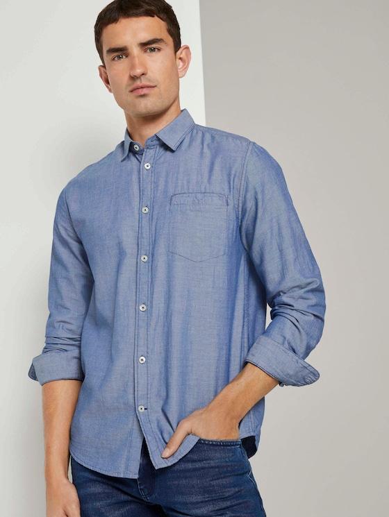 Gemustertes Hemd mit Brusttasche - Männer - blue white structure - 5 - TOM TAILOR