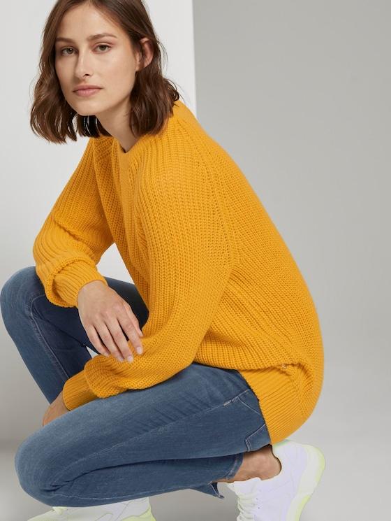 Basic Pullover mit Raglan-Ärmeln - Frauen - Indian Spice Yellow - 5 - TOM TAILOR Denim