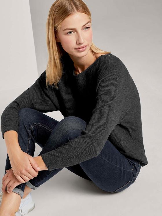 Pullover mit Fledermausärmeln - Frauen - Shale Grey Melange - 5 - TOM TAILOR Denim