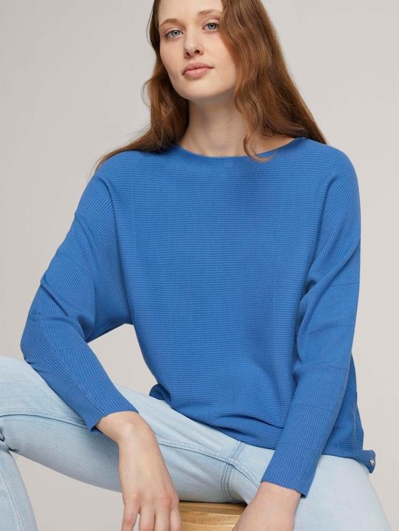 Pullover mit Fledermausärmeln - Frauen - mid blue - 5 - TOM TAILOR Denim